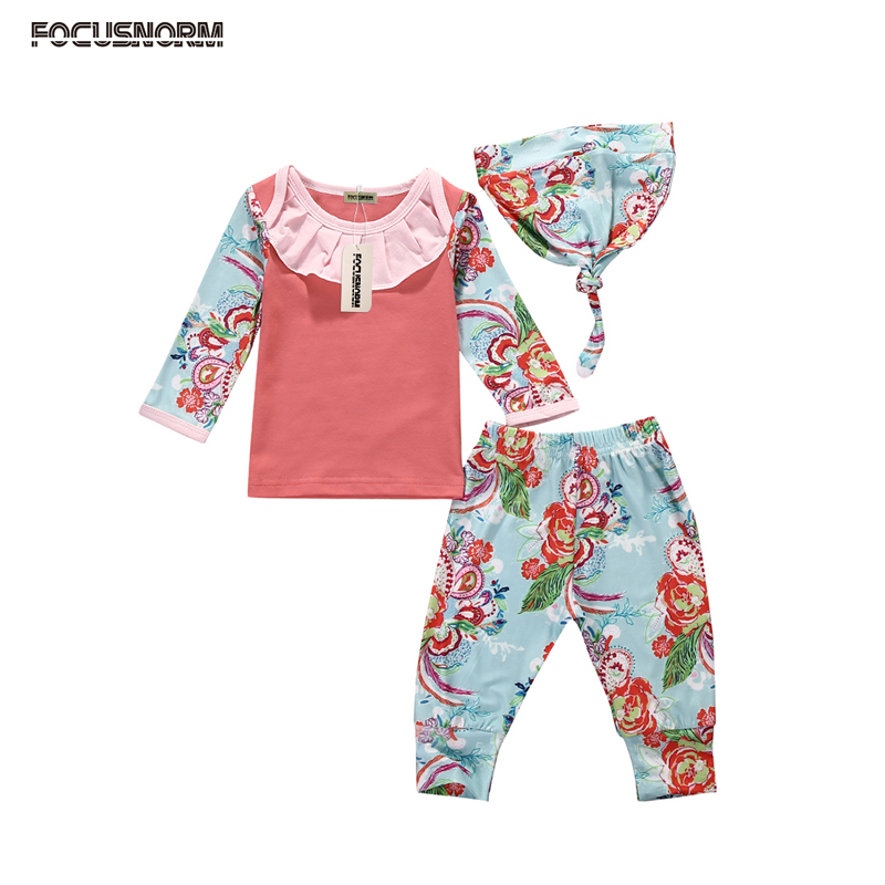 New Casual Toddler Newborn Baby Girl Clothes Cotton Long Sleeve T-shirt Tops+Floral Pants Hat 3pcs Outfits Set Clothes