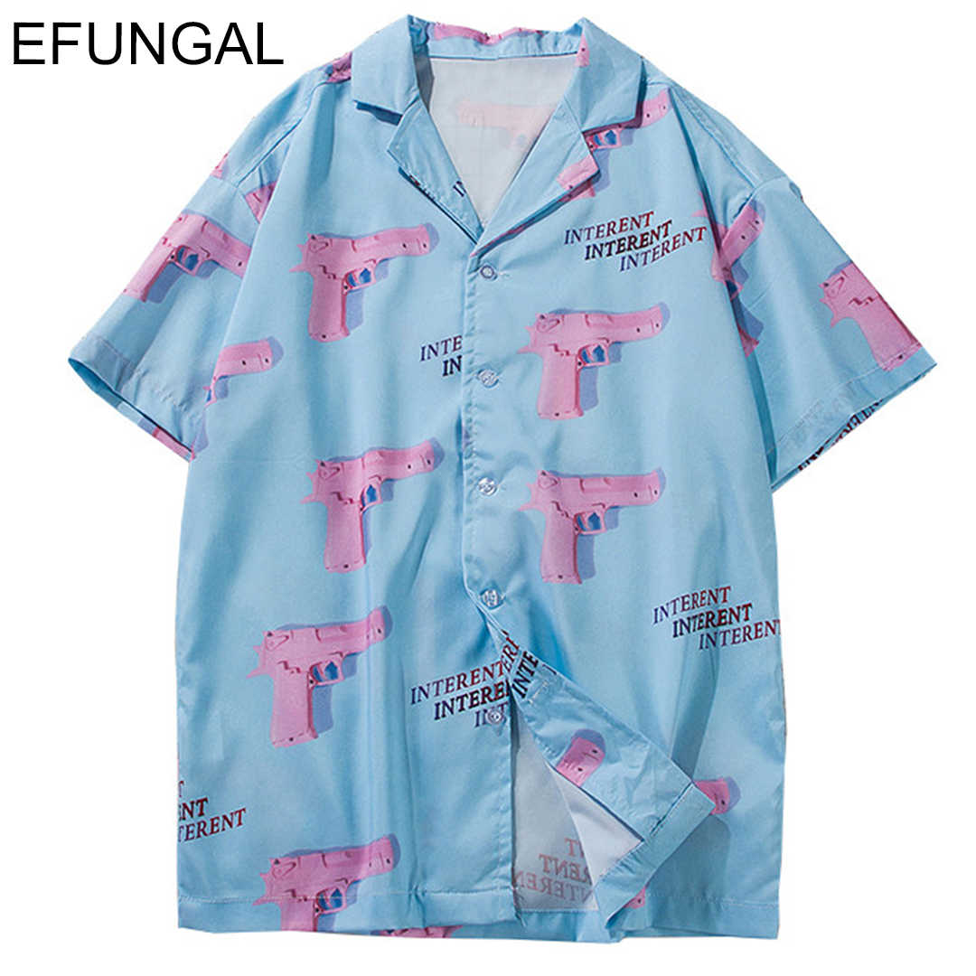 EFUNGAL Turn-down Collar Shirts Men 2019 Summer Hawaii Style Pink Gun 3d Printing Casual Streetwear Hip Hop Short Sleeve Shirt