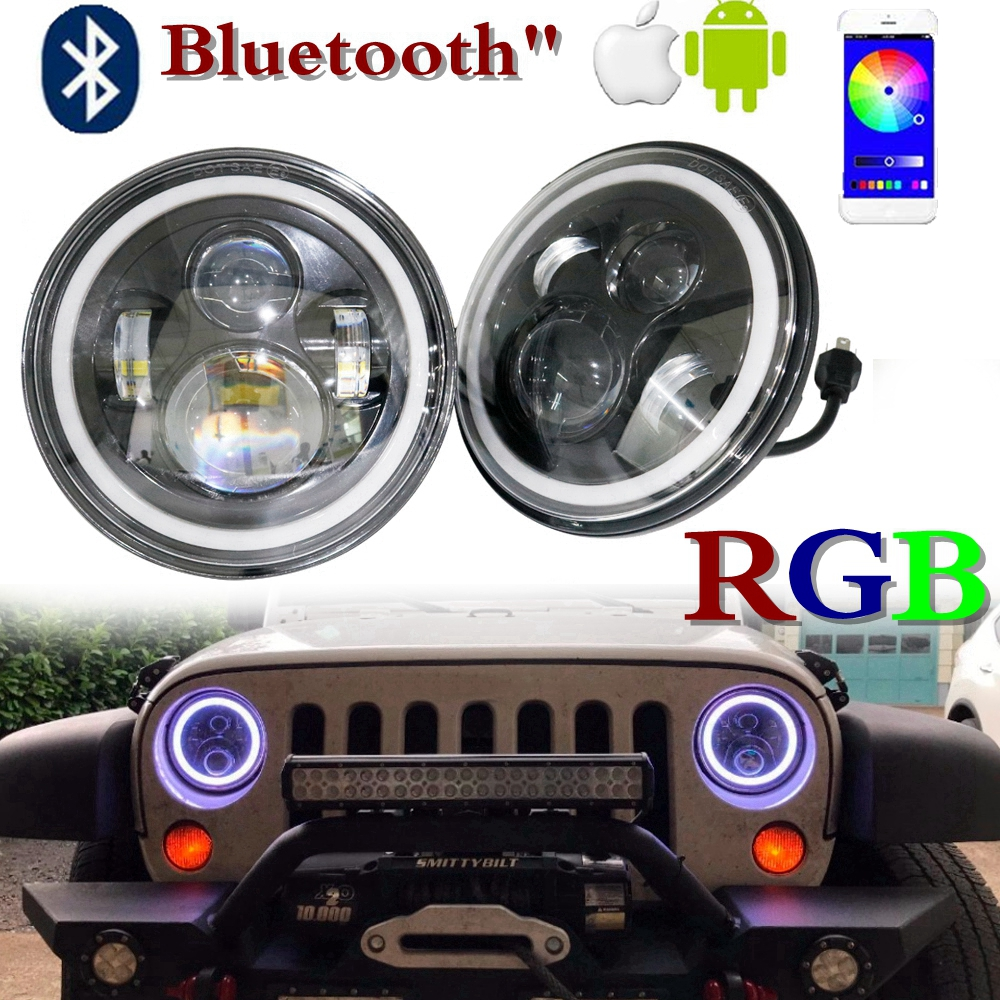 For Lada 4x4 urban Niva 7 inch LED Halo Projector Headlights RGB Color Change Wireless For Jeep Wrangler Jk TJ Hummer Headlamp
