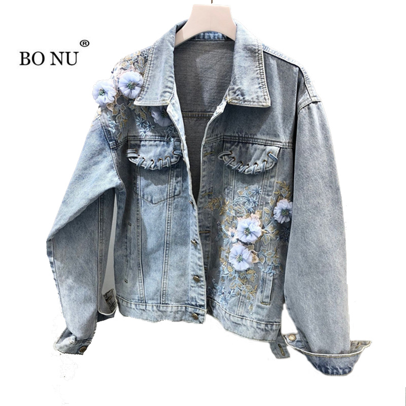 Lâche Veste Vintage Femme Denim Longues Femmes Streetwear Bonu Casual Manches Bleu Pour Trous Jeans Automne Broderie Manteaux OqnSwB1