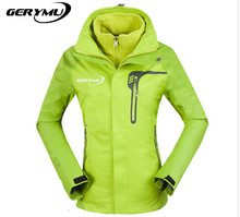 Women 2-1 Outdoor Soft Shell Snowboard Jacket Hunting Camping Climb Hiking Sking Waterproof Breathable Windbreaker Coat