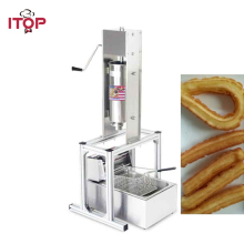 ITOP Commercial Stainless Steel 5L Churro Maker Filler Manual Spanish Churros Machine Maker With 6L Electric 220V Deep Fryer double head 220v commercial churros waffle maker
