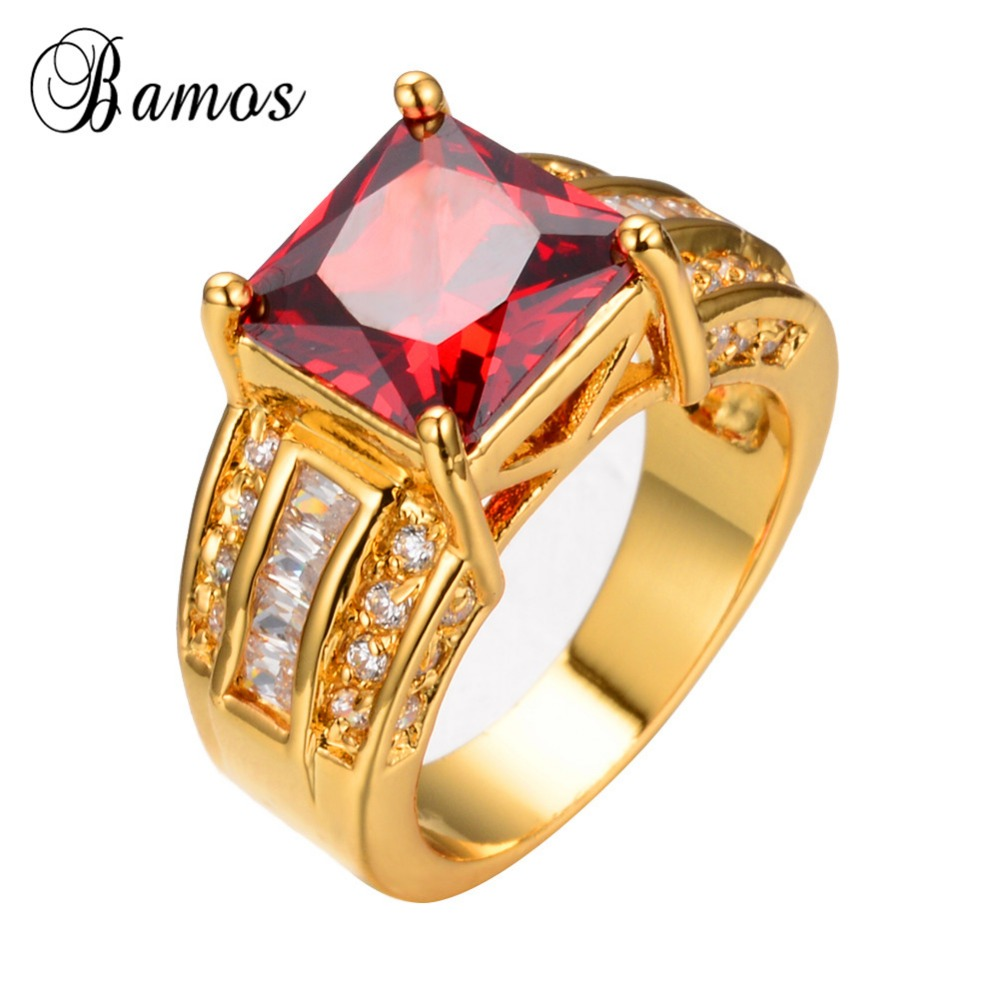 12 Noble Jewelry Princess Cut Chunky Red Cz Red 14kt Yellow  Gold Filled Women Wedding Engagement Rings Ry0026