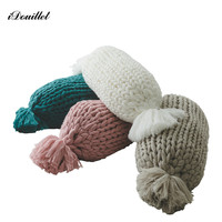 iDouillet Decorative Chunky Knit Accent Pillow Body Cushion Candy Shape with Insert Warm Throw Pillow Size 10x20 Romantic Gift