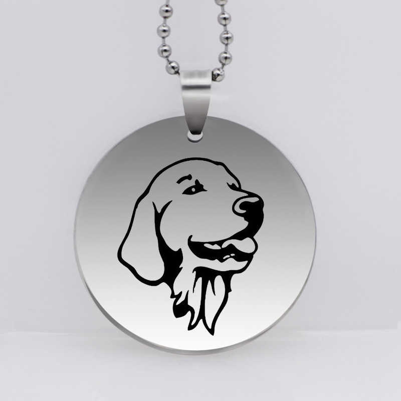 PAW PRINT Stainless Steel Dog Pet Pendant Necklace Golden Retriever Head Portrait Jewelry Gift For Women Drop Shipping YLQ6181
