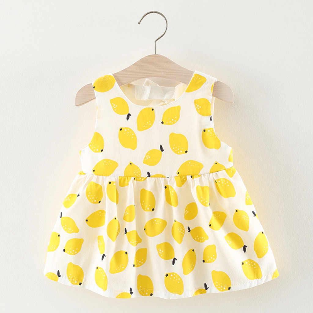 Платье для маленьких девочек платья для новорожденных без рукавов с принтом фруктов и лимона, одежда для маленьких девочек платье принцессы с бантом vestidos bebe
