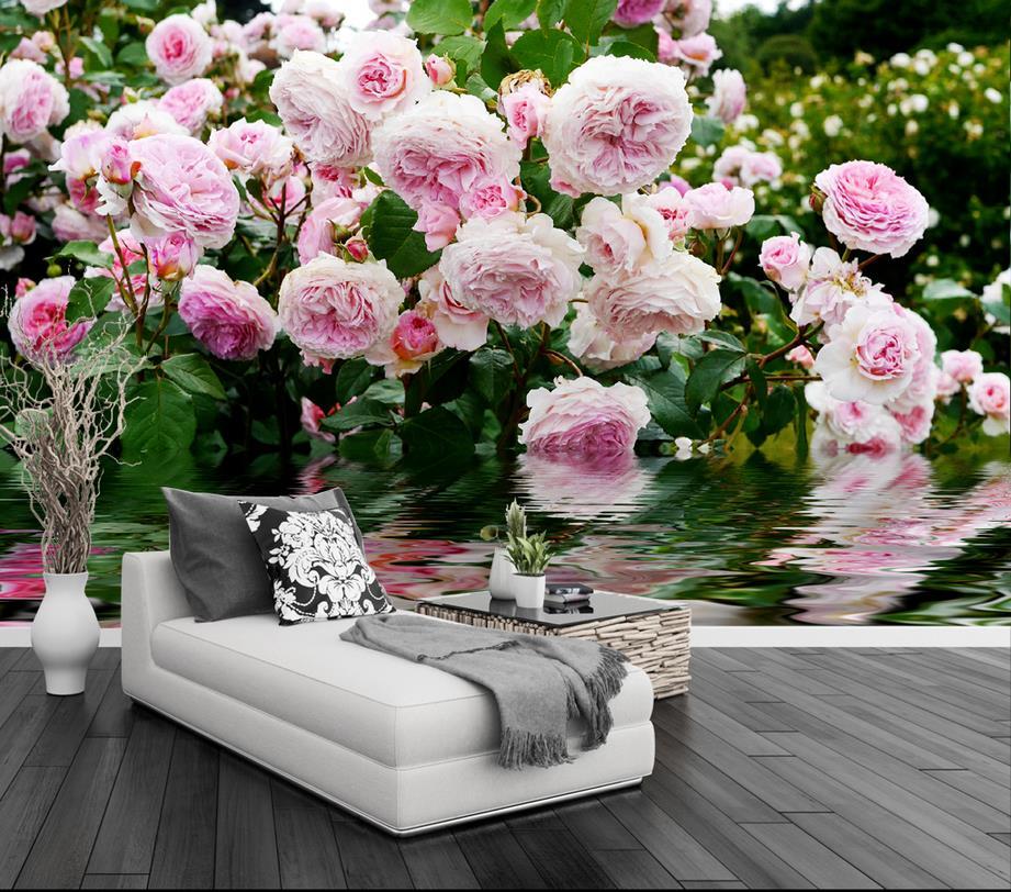 Custom 3d Stereoscopic Photo Wallpaper Luxury Rose Garden