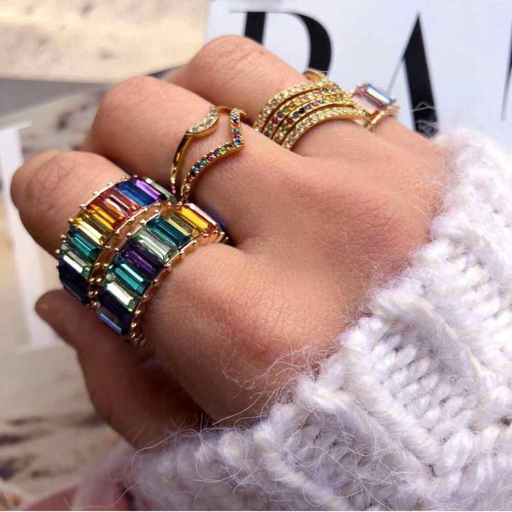 JUJIA ทองแดงแหวนสายรุ้งสีสันสดใสหลายสี CZ Eternity Baguette นิ้วมือแหวนผู้หญิงหญิงเครื่องประดับอุปกรณ์เสริม