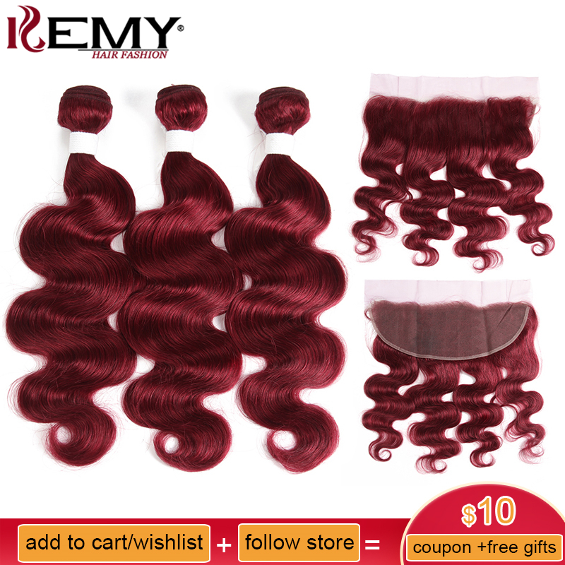 99j/Burgundy Red Color 3pcs Brazilian Body Wave Human Hair Bundles With Frontal 13*4 Kemy Hair 100% Remy Human Hair Extension
