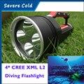 Супер Яркий 4 * CREE XML L2 LED Дайвинг Фонарик Факел Водонепроницаемый Портативный Поиск Лампы Дайвинг Подводный Фонарик