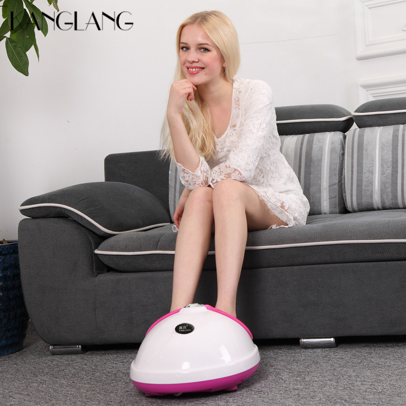 KANGLANG 220V Electric Antistress Foot Massager Foot Massage Machine Infrared Roller Kneading Shiatsu Foot Care Device With Heat kanglang 4d multi function electric foot massager circular massage airbags heat scrap leg machine old man leg massager device