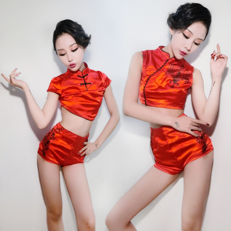 Red Sexy GoGo Performance Costumes Women Chinese Traditional Style Adult  DS Salsa Dress Jazz Dance Clothing Stage Wear VDB070