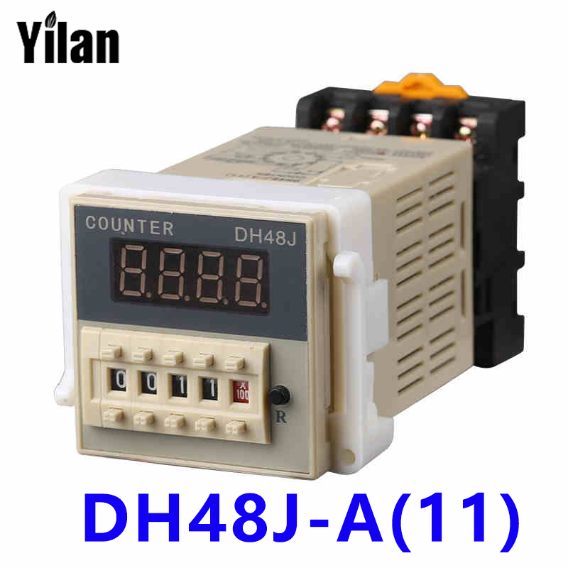 DH48J-11A digital display preset counter power failure memory function 11 feet 220v time relay hhs6a correct time countdown intelligence number show time relay bring power failure memory ac220v