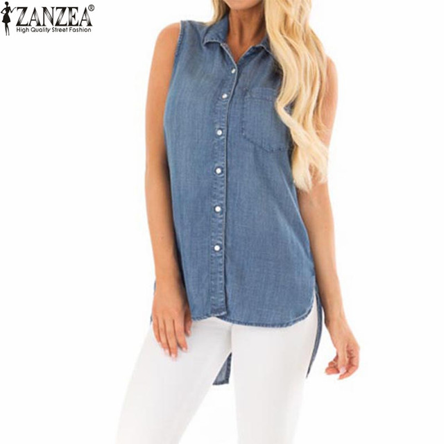 60b62084dd2 Plus Size ZANZEA 2018 Summer Women Sleeveless Blouse Lapel Button Shirt  Blusa Feminina Camisas Back Split Denim Tops Blusas