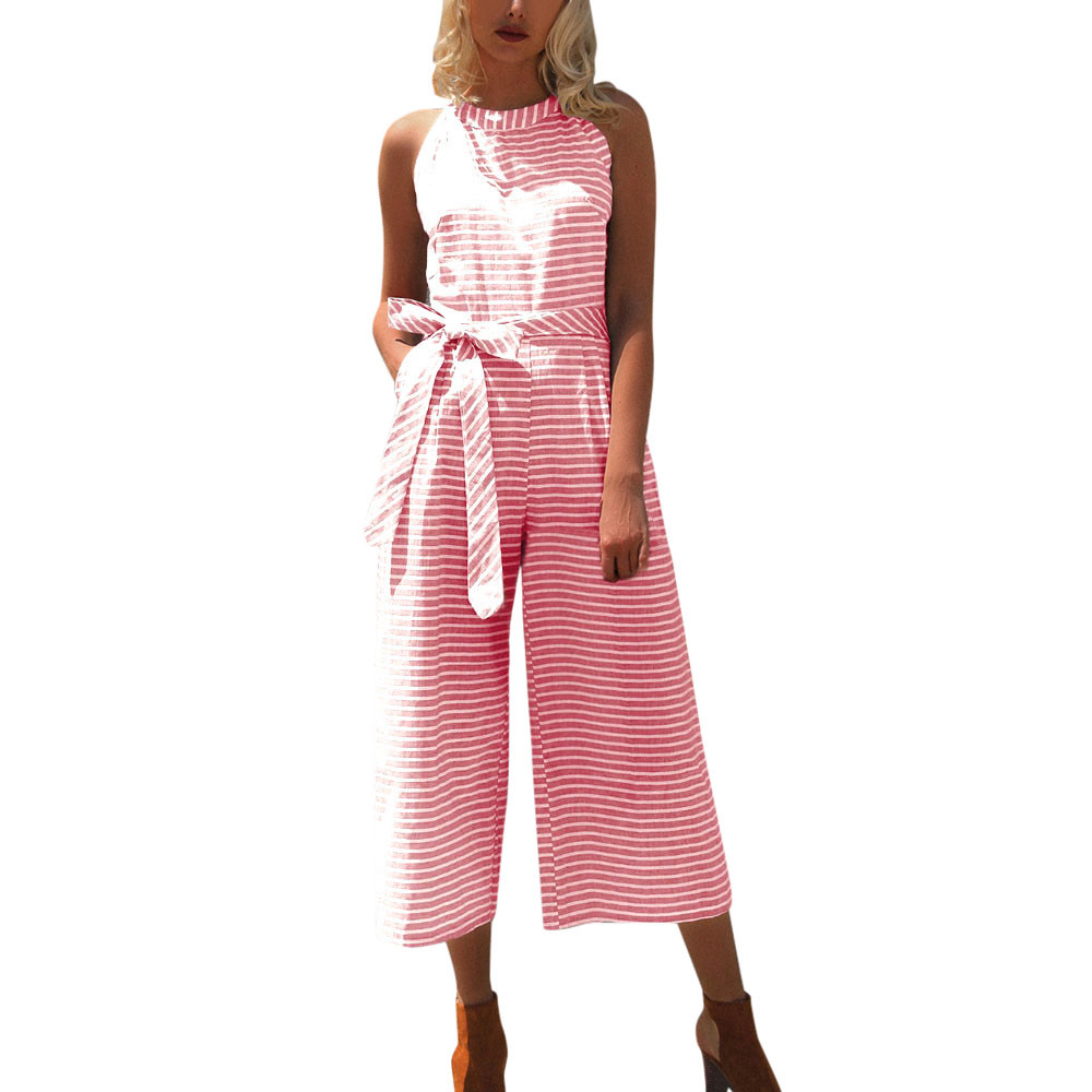 370d772c081 Elegant Ladies Striped Printed Jumpsuit Women Casual Long Overalls  Sleeveless Summer Rompers Office Playsuit Drop Shipping  Ju