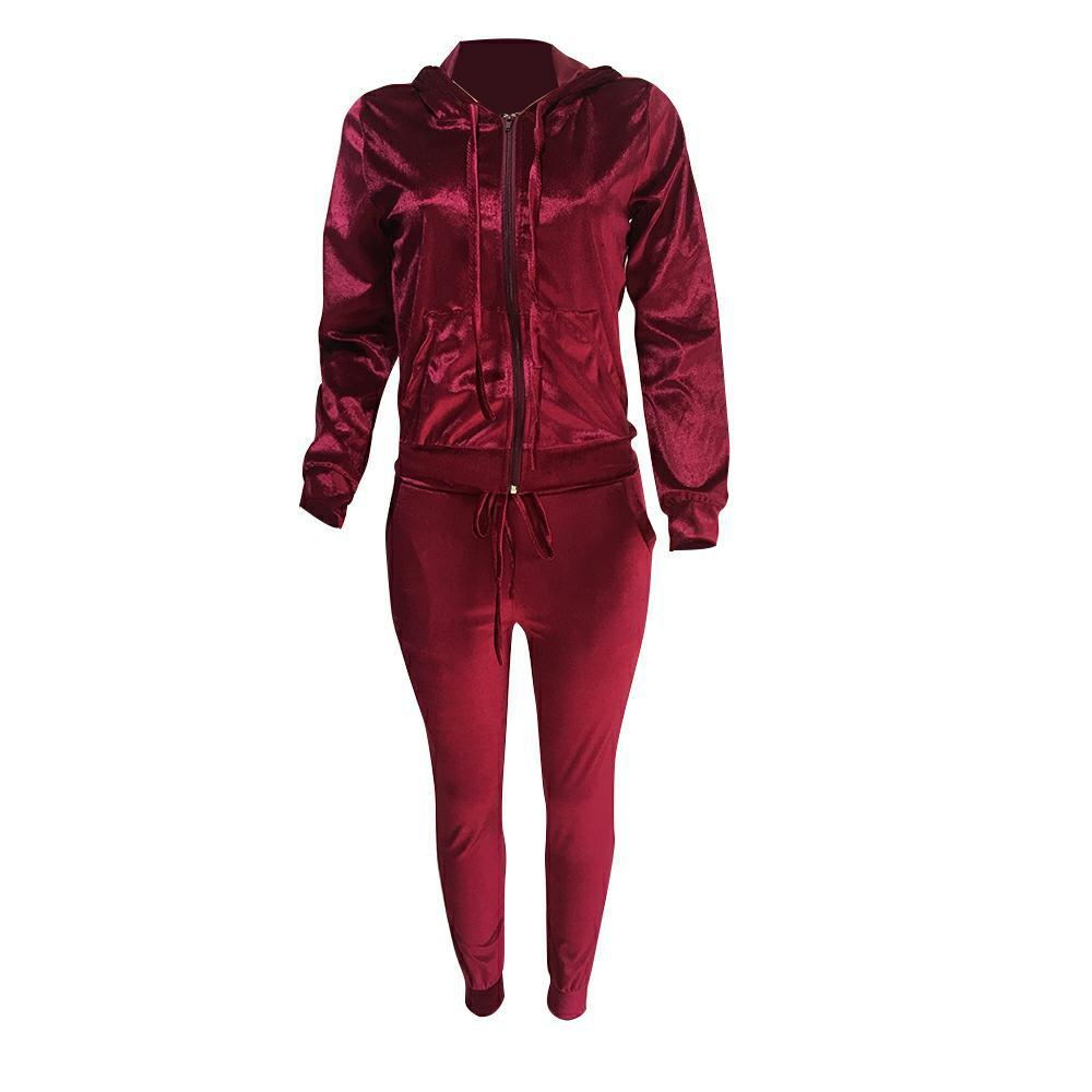 Women Velvet 2 Pieces Set Zipper V neck Hoodies And Pants Sportwear Sporting Suit Women Tracksuit weatsuit Female Outfits in Women 39 s Sets from Women 39 s Clothing