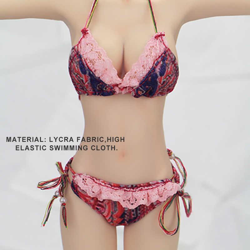 1/6 Schaal Vrouwelijke Super Flexibele Naadloze Lichaam Figuren Bloem EEN Kant Pop Model Speelgoed met Borst Grote Bikini Badpak Ondergoed