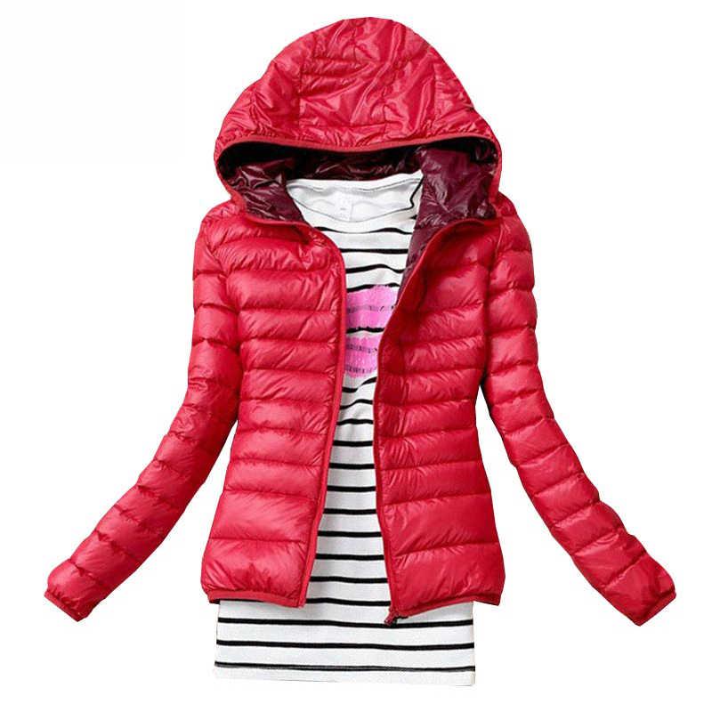 Jaket Musim Dingin Wanita Katun Down Jaket Hooded Wanita Kasual Langsing & Parka Dasar Solid Wanita Jaket panjang Lengan Mantel