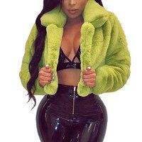 JAYCOSIN осень-зима модное женское однотонное пальто из пушистого флиса с отложным воротником из искусственного меха Топ Короткое Свободное па...