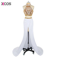 Sexy Gold Crystal Beaded Two Piece Mermaid Evening Dresses Long 2018 White High Split Halter Prom Dress Formal Abendkleider