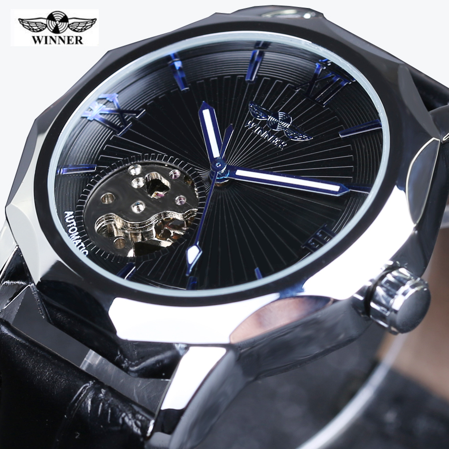Automatic Wrist Watch Relogio Masculino Fashion Winner Black Leather Strap Stainless Steel Case Skeleton Mechanical Watch Man winner dress classic men automatic mechanical watch stainless steel strap blue roman number transparent case design wrist watch