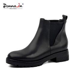 Donna-in Winter Boots Women Genuine Leather Natural Fur Snow Boots Women Waterproof Black Platform Block Heel Shoes for Ladies