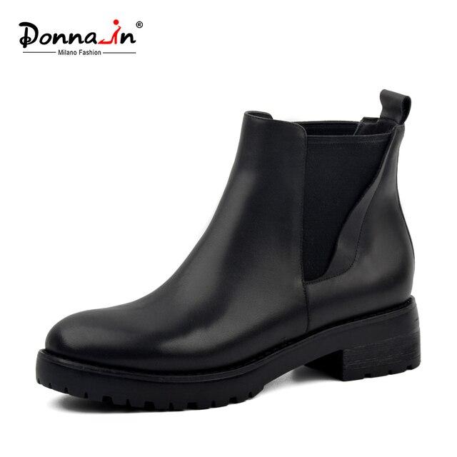 Donna-в женские зимние ботинки натуральная кожа Челси Женские Ботинки натуральная шерсть зимние сапоги на меху толстая подошва на низком каблуке теплые