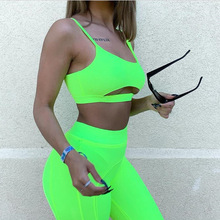 SKMY Two Piece Set Neon Green Womens TankTops And High Waist Sports Shorts Summer Beach Vacation Leisure Sexy Club Outfits 2019