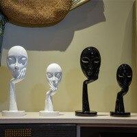 Изделия из смолы отвлеченный Скульптура мыслитель маска украшения дома аксессуары Кофе магазин красный винный шкаф стойки картин
