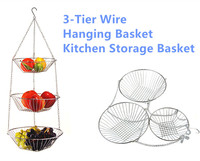 New Home Organization Multipurpose 3 Tier Hanging Fruit Vegetable Kitchen Storage Basket Not Rust Stainless Steel High Quality