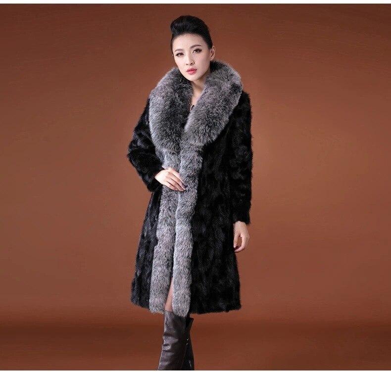 Chaud Lapin Femmes Vestes Black Femme Faux D'hiver J1401 Col Occasionnel Manteaux Section De Femelle Fourrure Grand 3xl Longue Vison S fnWqpZf