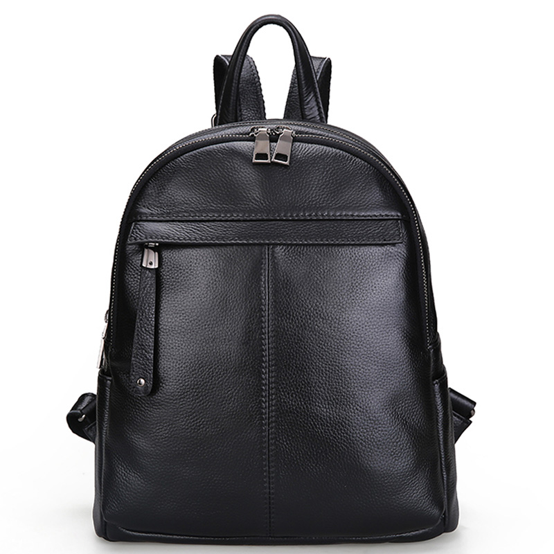Aodux 2 Size White Silver Backpacks Genuine Cow Leather Female Women Backpack First Layer Cowhide School Bags Black Hardware