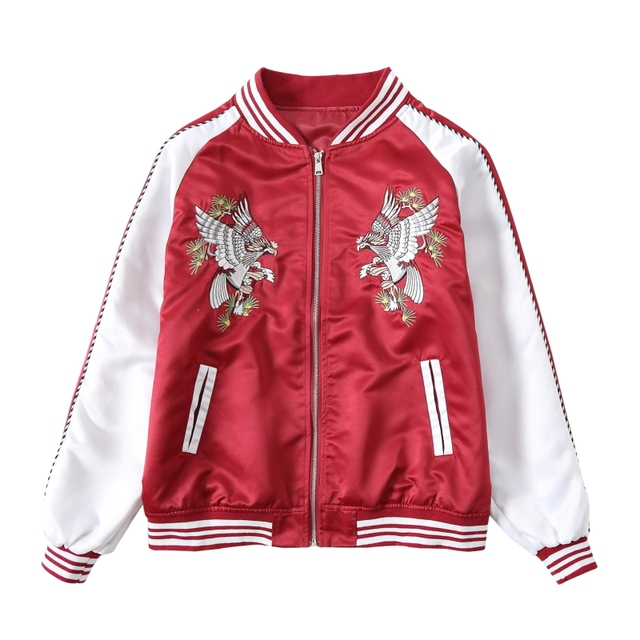 535aa9de7205 Women Basic Coat Eagle Embroidery Bomber Jacket Lover Streetwear Outweat  Coat Red White Blue Black Hip Hop Baseball Autumn New