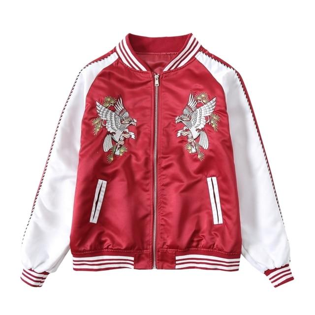 Women Basic Coat Eagle Embroidery Bomber Jacket Lover Streetwear Outweat Coat  Red White Blue Black Hip Hop Baseball Autumn New d1ae73ec8