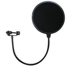 Nueva Doble Capa Estudio Micrófono Pop Filtro Negro Wireless Giratoria Montaje Circular Shield Para Estudio de Grabación de Canciones de la Red K