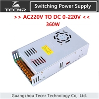 Switching Power Supply 360W input AC220V output DC 0 12V 24V 36V 48V 60V 70V 80V 110V 130V transformer for cnc engraving machine