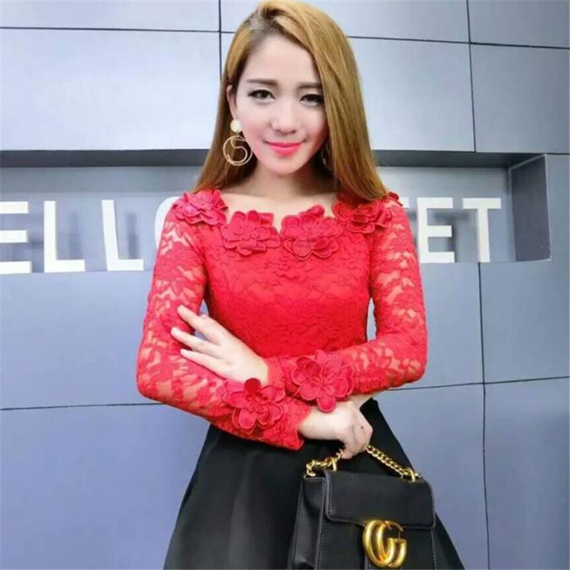 Otoño rosado Cuello Dulce 2018 Slash Slim Corto Tops Femal Mujeres Larga Floral Nuevo Negro blanco rojo Encaje Manga Damas Camisa A966 Blusas Blusa pqqR56