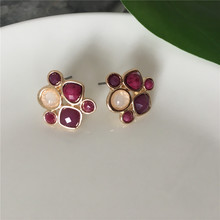CLASSIC WOMEN EARRING GOLD COLOR PLATING PURPLE BEIGE STONE STUD FOR GIRL