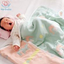 Herbabe Baby Muslin Blankets 100% Cotton 6 Layers Newborn Infant Swaddle Wrap Baby Boy Girl Sleepsacks Stroller Cover Play Mat
