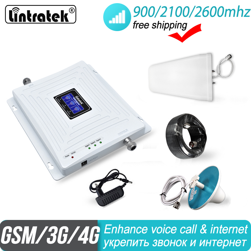 2600 4G Signal Booster Lintratek 2G 3G Tri Band GSM 900 WCDMA 2100 FDD LTE Cellphone Cellular UMTS 4G City Repeater Amplifier 38