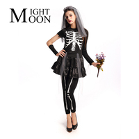MOONIGHT Adult Women Halloween Black Skull Ghost Bride Fancy Dress Vampire Costume Cosplay Zombie Stage Outfit