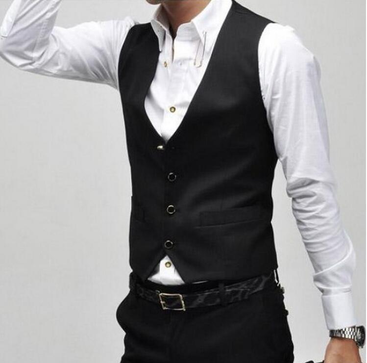 New Version V Neck Vest Men Wholesale Casual Gilet Single Breasted Vests Leisure Suit For Men Colete Black Waistcoat