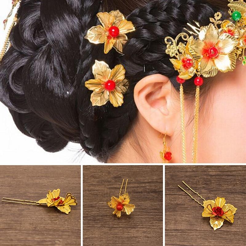 Flower Hair Pins For Wedding: 2pcs Hairpins Prom Gold Flower Pattern Hair Accessories