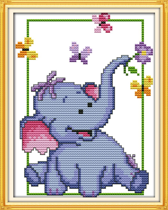 A Cute Baby Elephan Cross Stitch Kit 14ct 11ct Count Print Canvas Stitches Embroidery DIY Handmade Needlework Plus