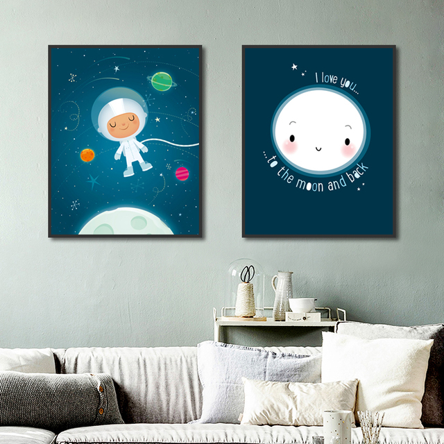 SPLSPL Nordic Style Kids Room Decor Blue Space Cartoon Spacewalk Posters  And Prints Wall Picture For Living Room Canvas Painting