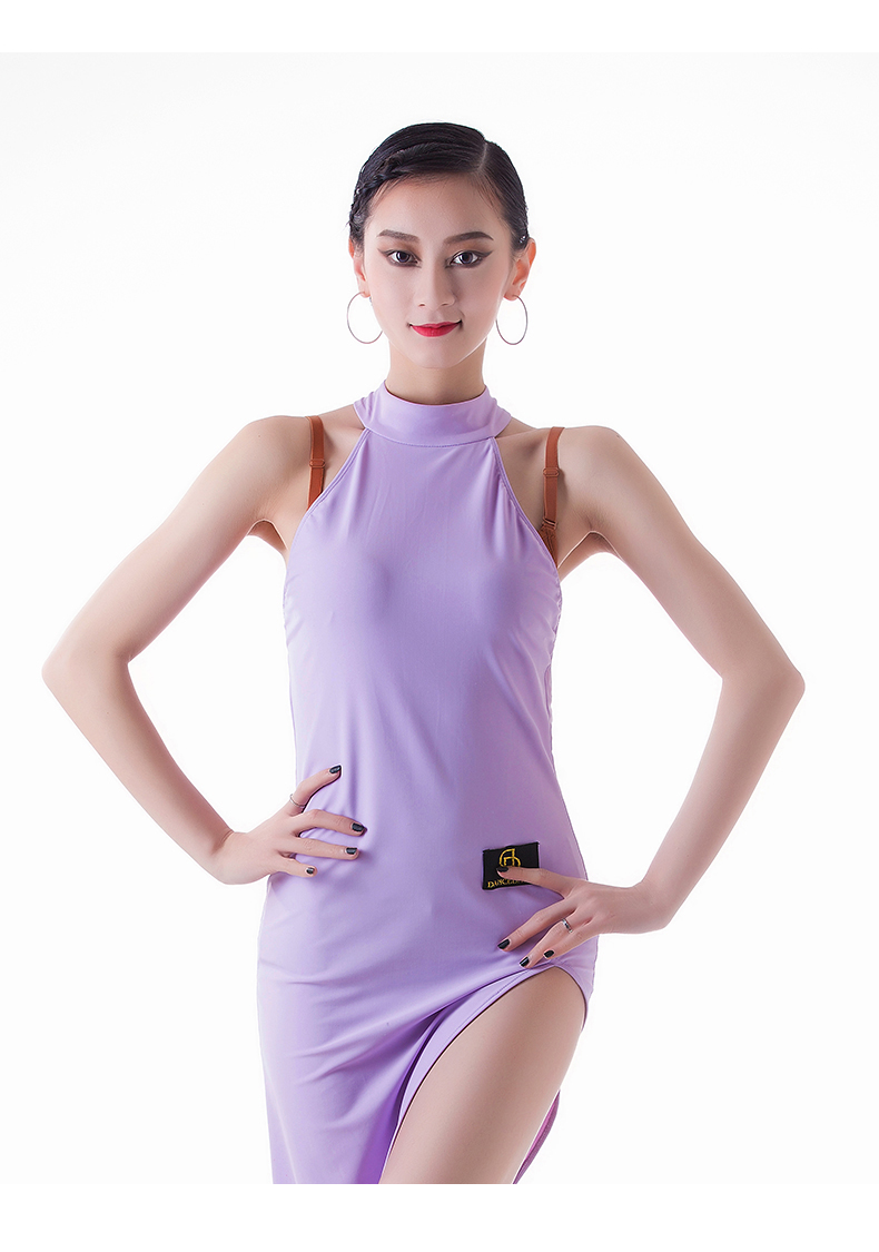 ③Popular Latino danza vestido para damas púrpura lycra falda borla ...