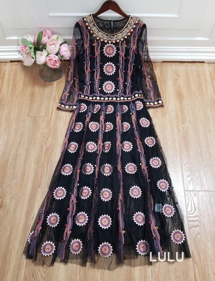 Cocochoose для женщин Роскошные Тяжелые вышивка сетки сексуальное платье с длинным рукавом и отделкой из бус бренд платья для вечеринок Новый 2019