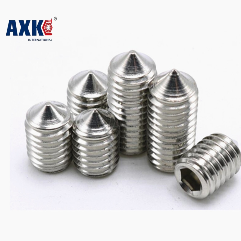 10-100pcs/lot M6*5/6/8/10/20/25/30/35/40/45 M5X4-40 stainless steel 304 cone point hex socket set screws grub screws fasteners m6 m6 6 8 10 12 16 m6x6 8 10 12 16 304 stainless steel 304ss din914 inner hexagon socket allen head grub cone point set screw