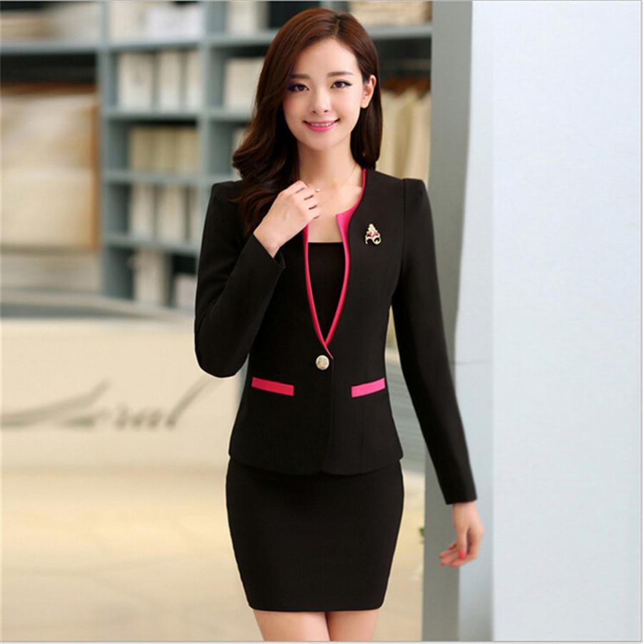 58f023d1bff 3XL Women Skirt Suits Candy Color Women Business Suits Office Uniform  Designs Women Elegant Work New Fashion Blazer Feminino-in Skirt Suits from  Women s ...