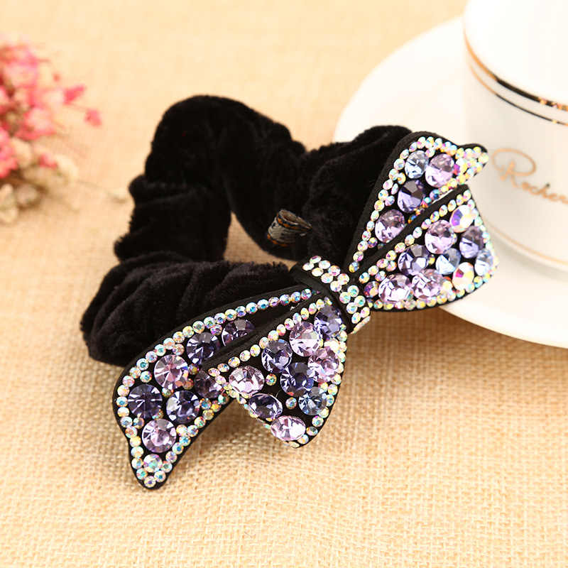 2018 Korean Flannel Rhinestone Bowknot Elastic Hair Bands For Girl Women Fashion Ponytail Holder Full Diamond Hair Accessories